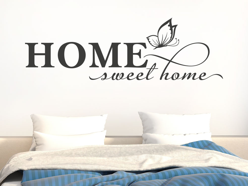 Wandtattoo Home sweet home mit Schmetterling