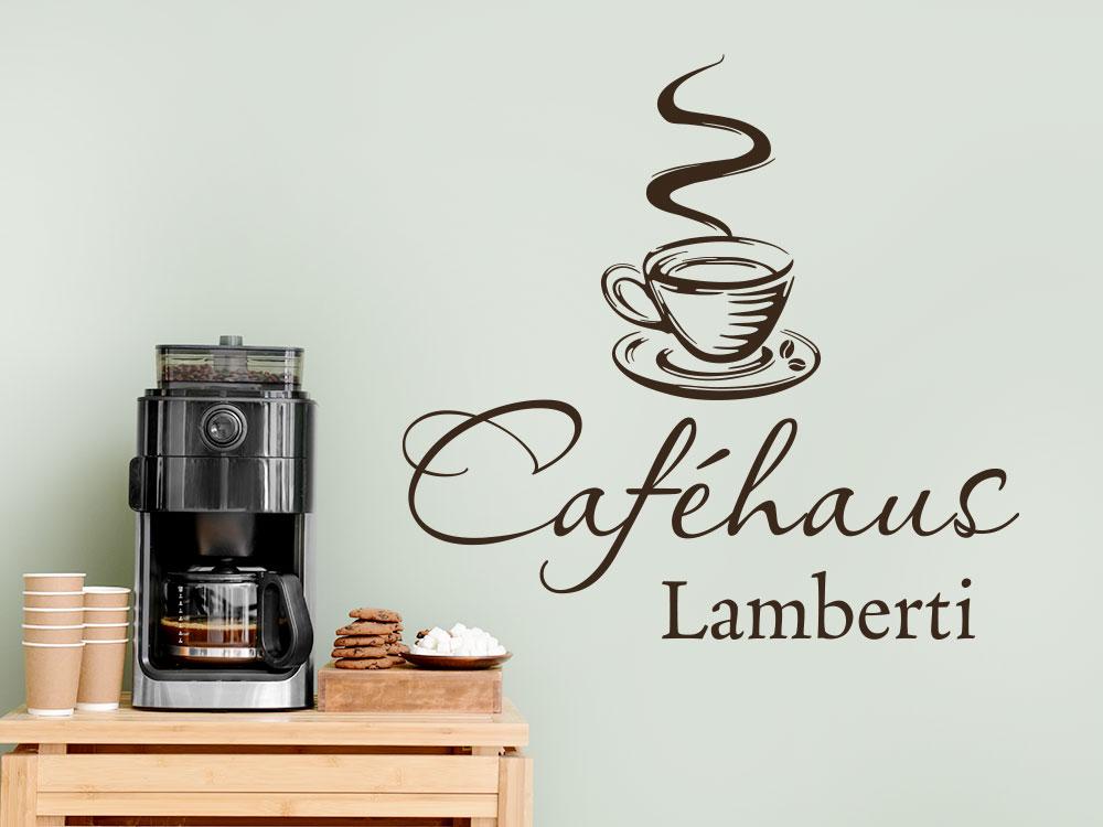 Kafeehaus Wandtattoo mit Name