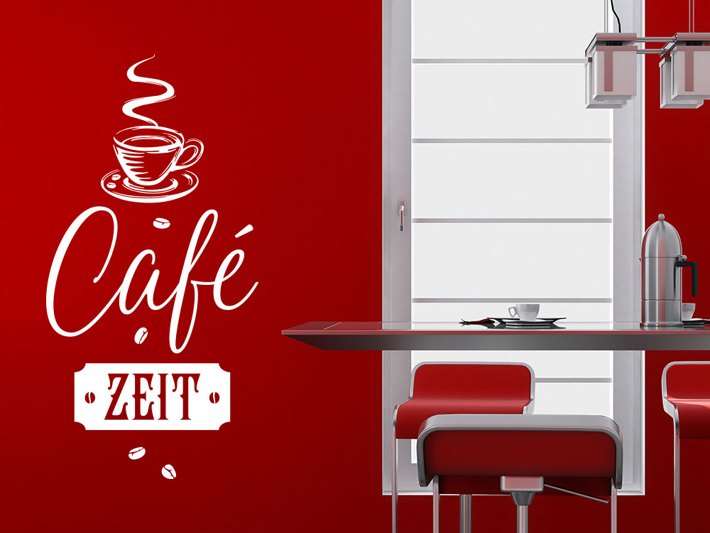 Café Zeit Wandtattoo mit Kaffeetasse und Kaffeebohnen