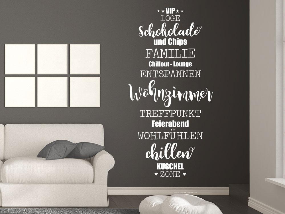 Wandtattoo Wohnzimmer Wortwolke weiss Wohnbereich