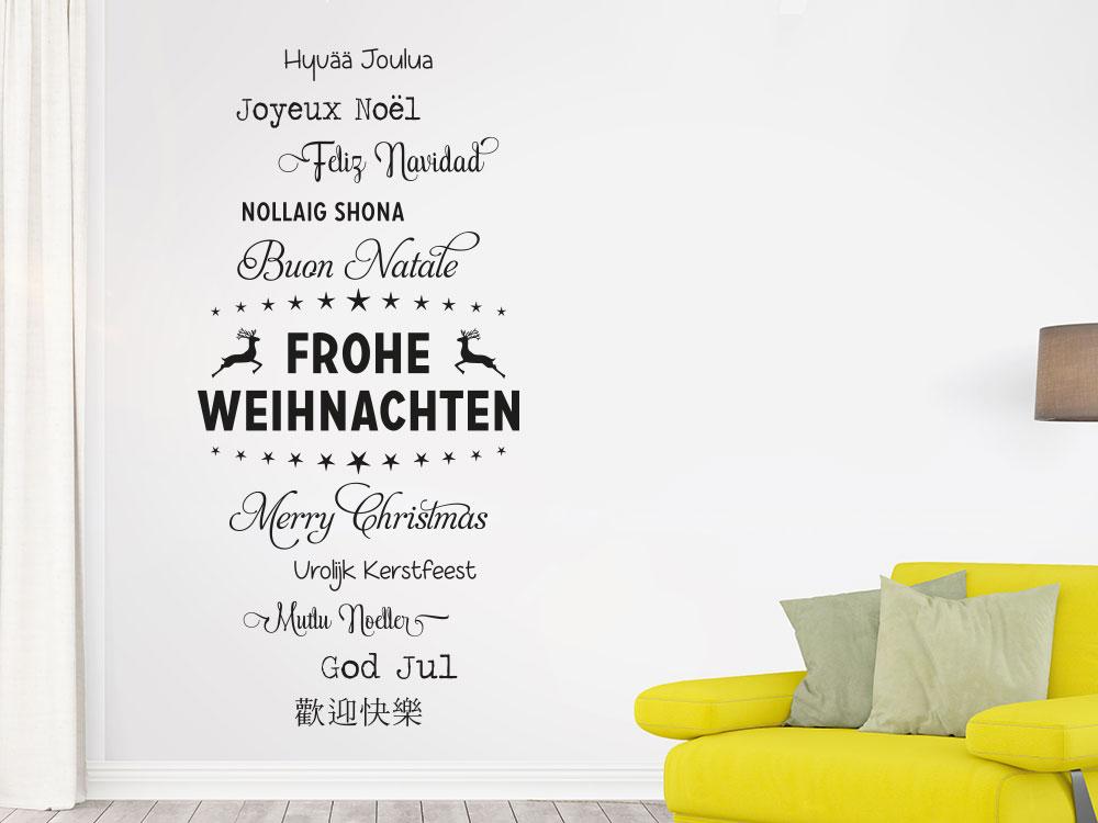 Wandtattoo Frohe Weihnachten Worte auf dunkler Wand