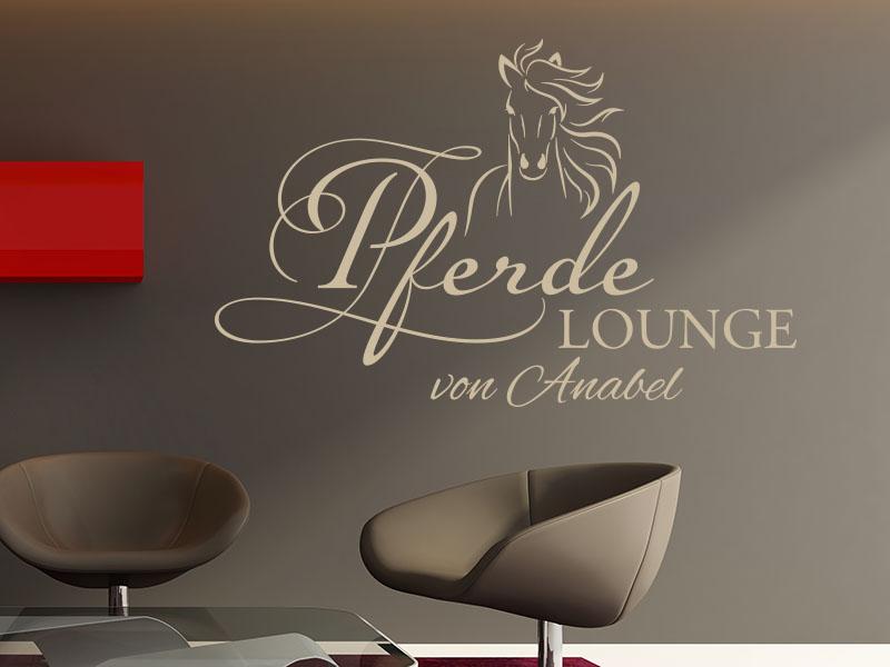 Wandtattoo Pferde Lounge mit Wunschname