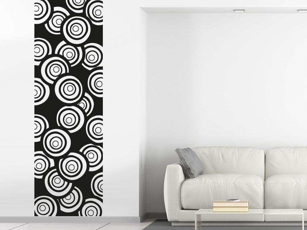 Wandtattoo Banner mit abstrakten Kreisen auf heller Wand
