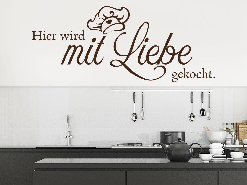 Wandtattoo Spruch Hier wird mit Liebe gekocht auf Küchenwand