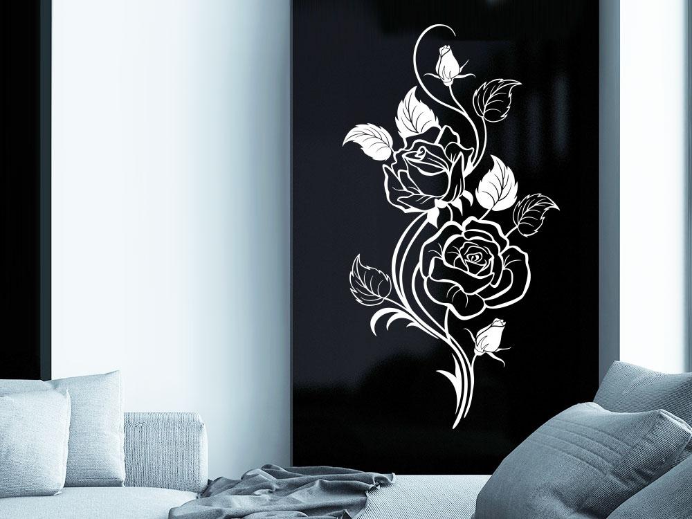 Wandtattoo Rosen Ornament mit Blätter und Blüten