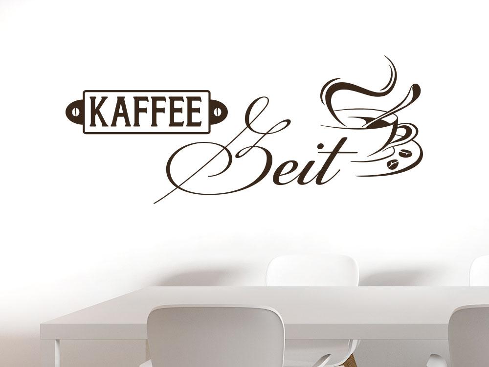Wandtattoo Cafézeit mit Tasse in Braun