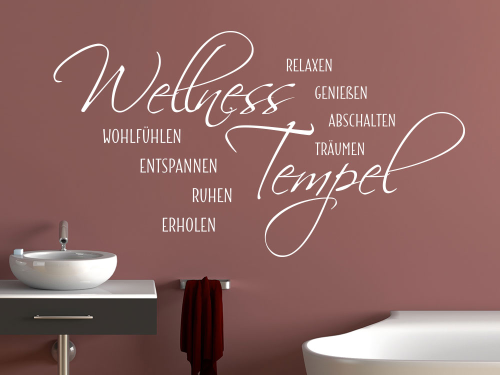 Wandtattoo Wellness Tempel in der Farbe Weiß