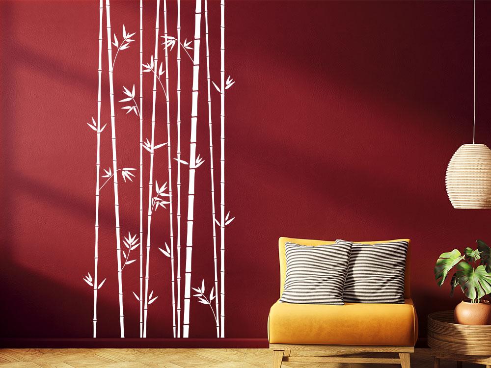 Bambus Hain Stangen im Wohnzimmer