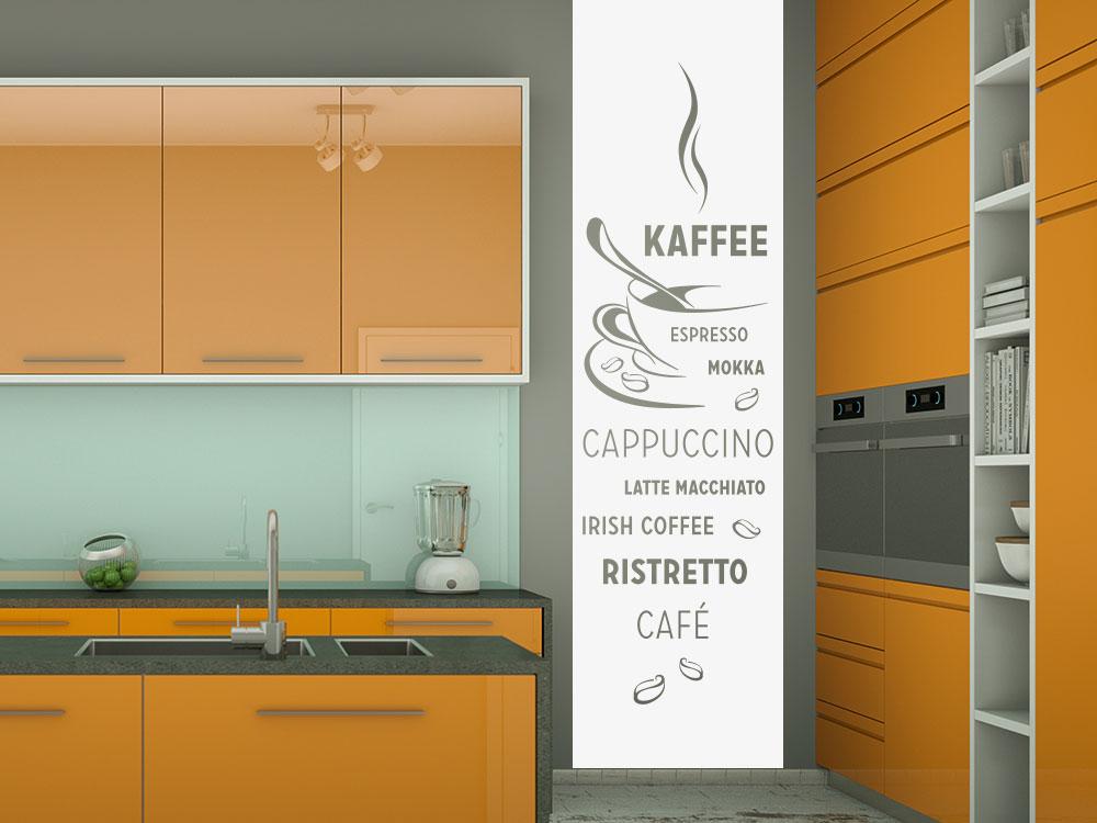 Wandtattoo Kaffee Banner auf grauer Wandfläche in der Küche
