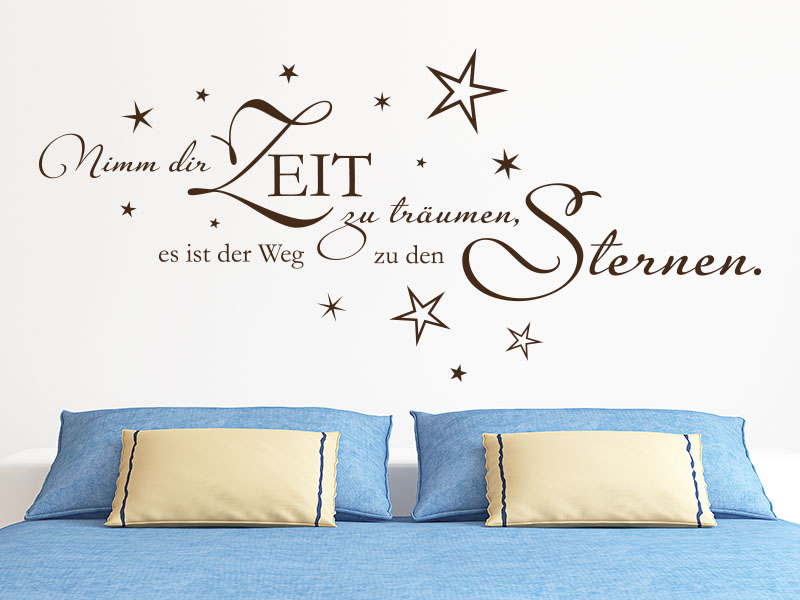 Wandtattoo Nimm dir Zeit zu Träumen… - Wandspruch im Schlafzimmer