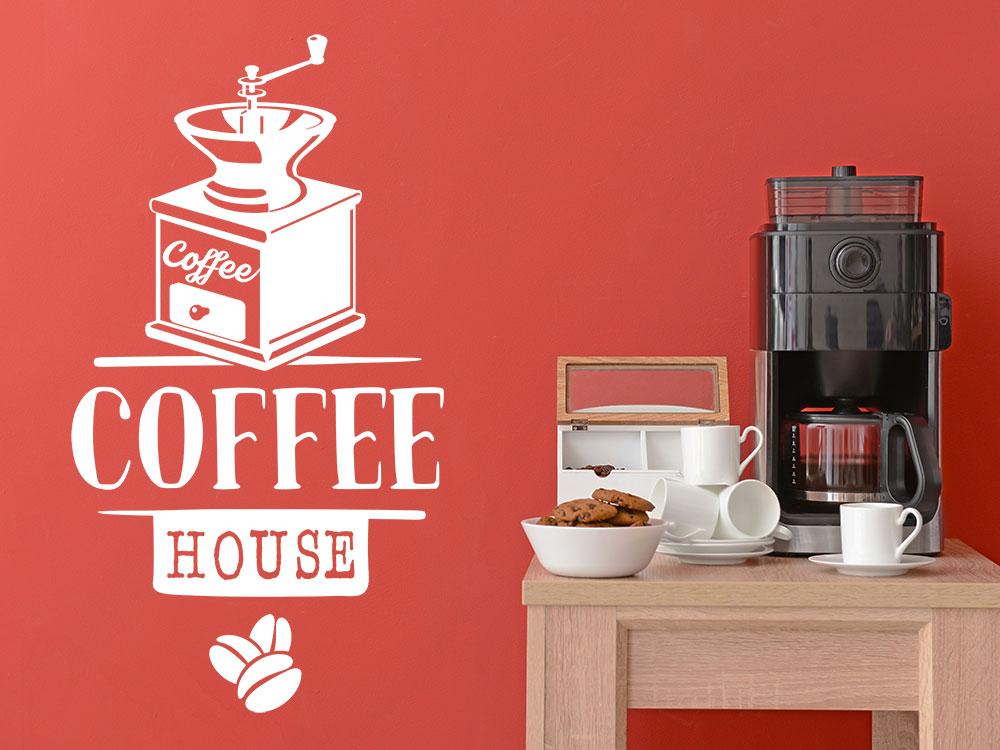 Wandtattoo Kaffeehaus neben Kaffeemaschine