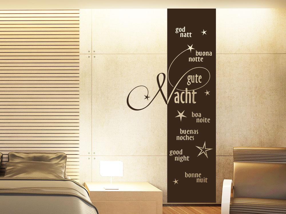 Wandtattoo Banner Gute Nacht in 7 Sprachen