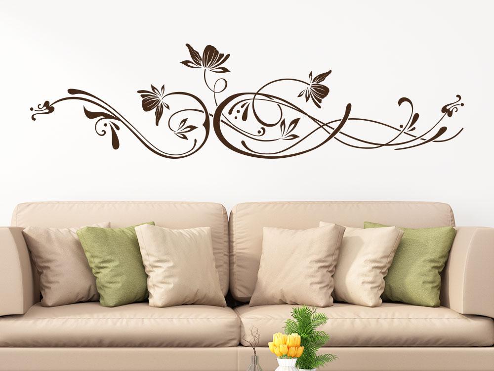 Wandtattoo Edles Ornament mit Blüten in Brauner Farbe
