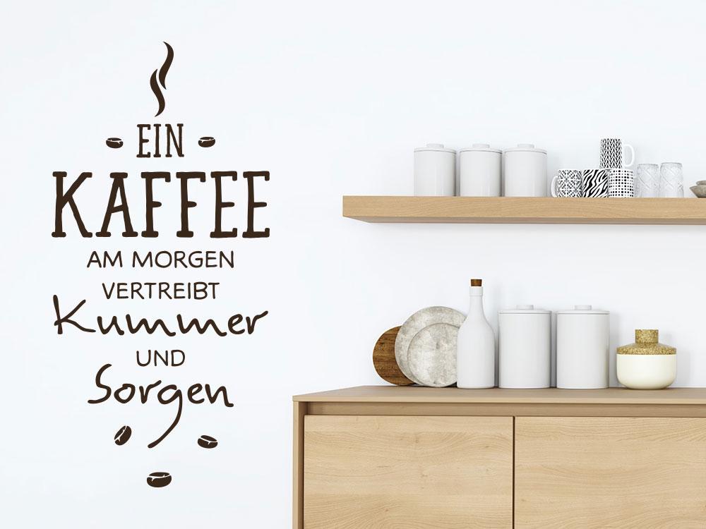 Wandtattoo Ein Kaffee am Morgen mit Kaffeebohnen