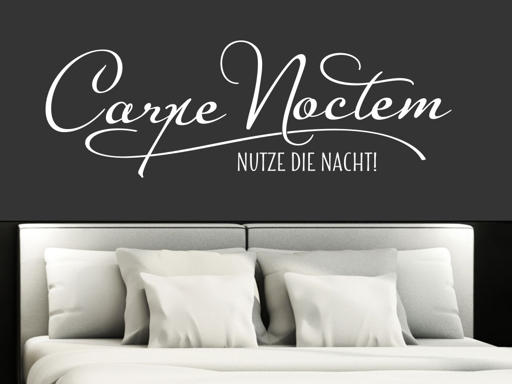wandtattoo spruch carpe noctem von klebeheld de. Black Bedroom Furniture Sets. Home Design Ideas