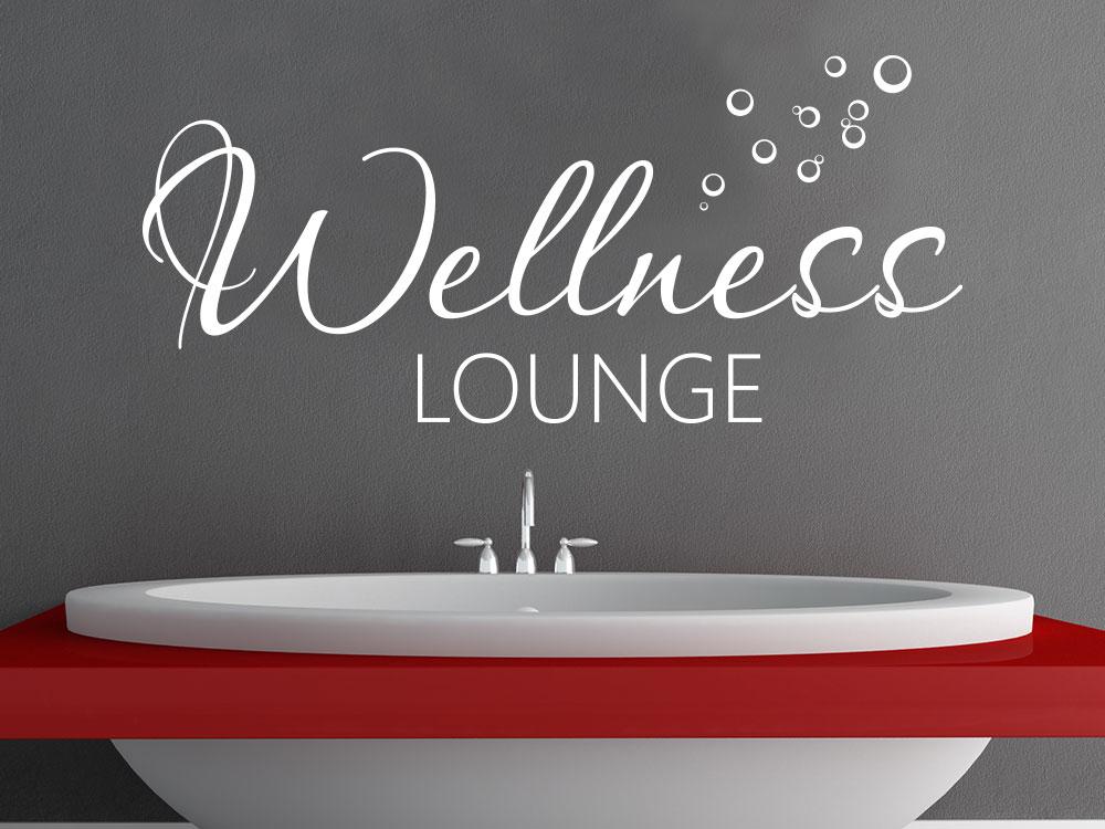 Wandtattoo Wellness Lounge über Badewanne auf dunkler Wand