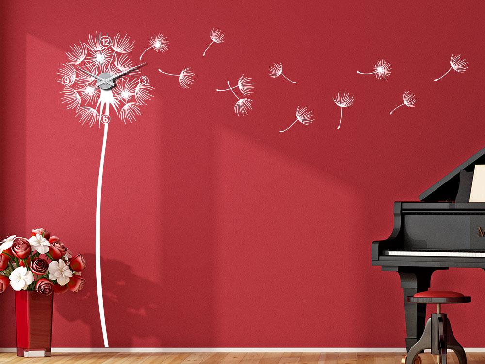 Pusteblume im Wind Wandtattoo Uhr in der Farbe Weiß