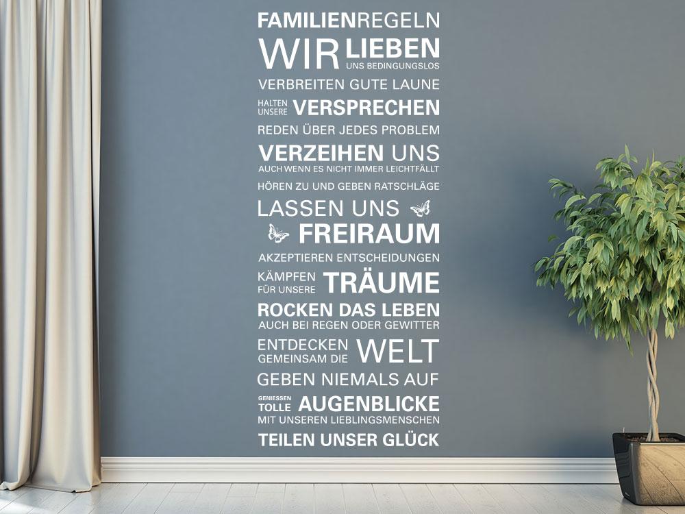 Wandtattoo Familienregeln in unserem Haus