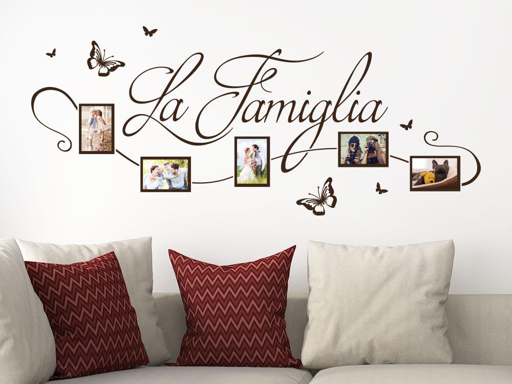 Wandtattoo Fotorahmen La Famiglia auf heller Wand