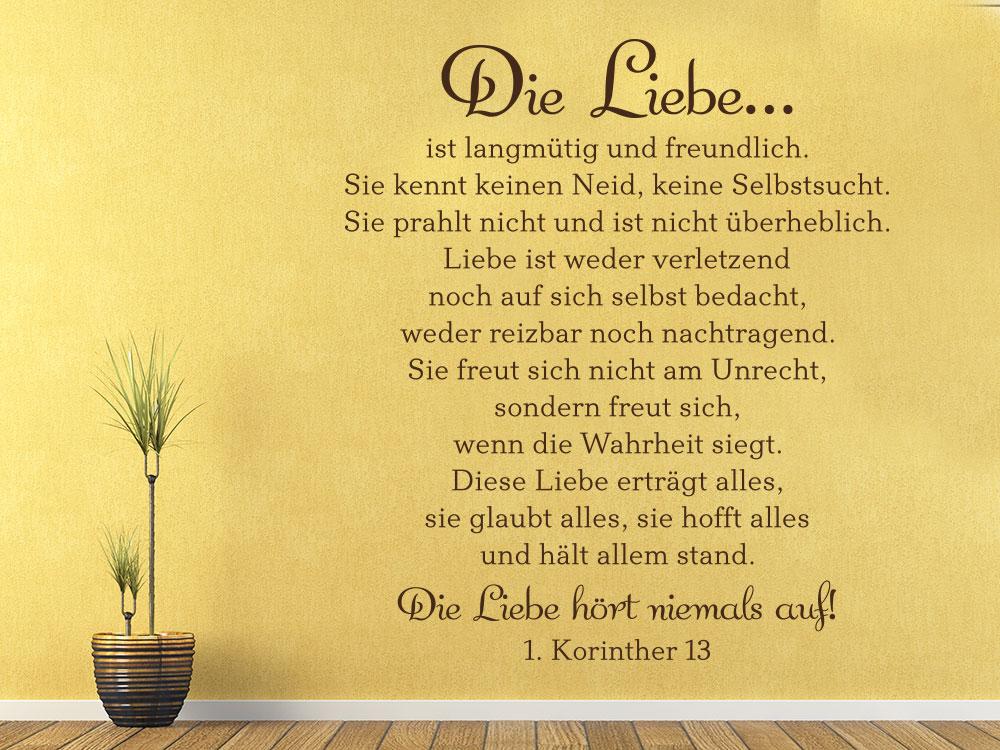 Wandtattoo Die Liebe ist langmütig und freundlich... Zitat 1 Korinther 13