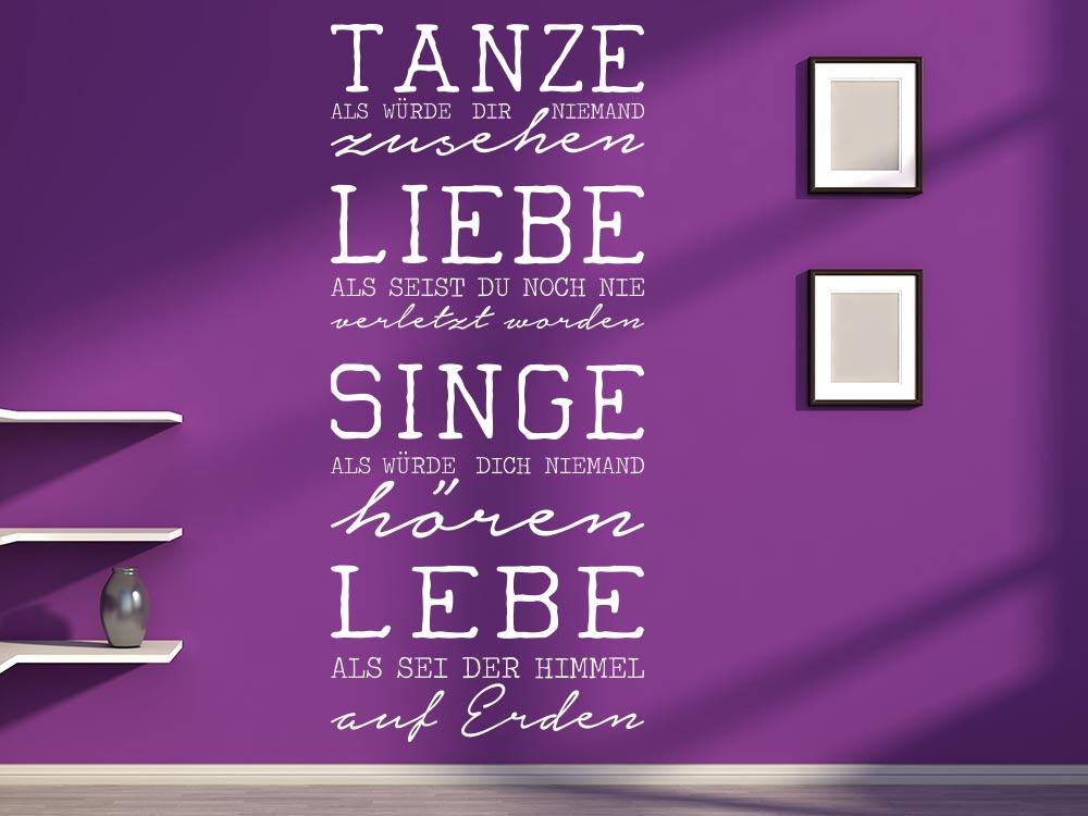 Wandtattoo Tanze Spruch auf Wohnzimmerwand