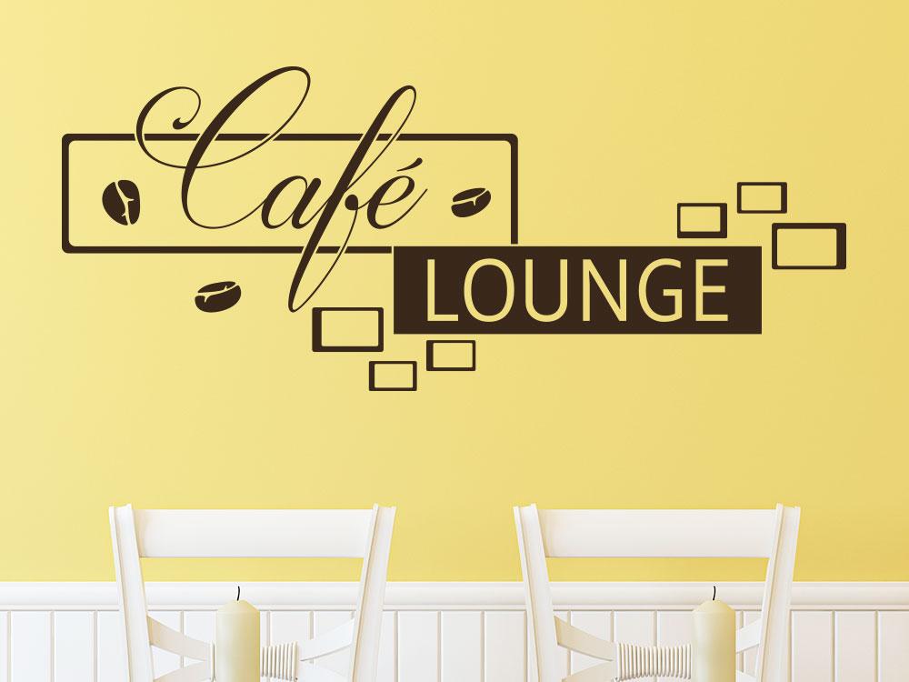 Wandtattoo Kaffee Lounge mit Kaffeebohnen im Café