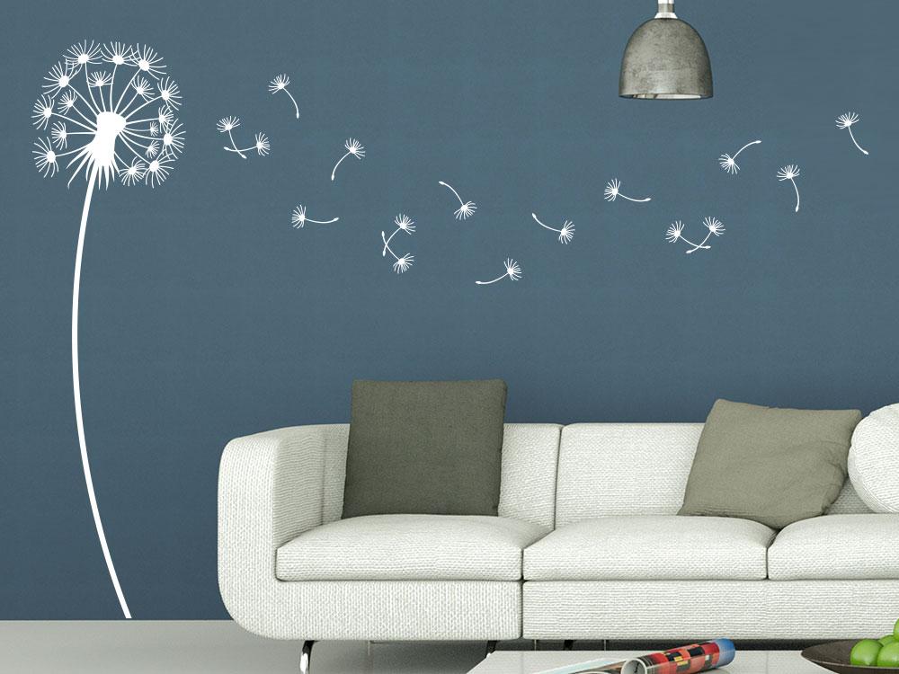 Wandtattoo Dandelion im Wohnzimmer in heller farbe