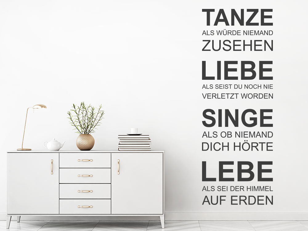 Modernes Wandtattoo Spruchband Lebe und Liebe