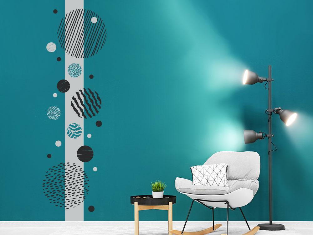 Wandtattoo Wandbanner Punkte und Kreise mit Muster  im Wohnzimmer