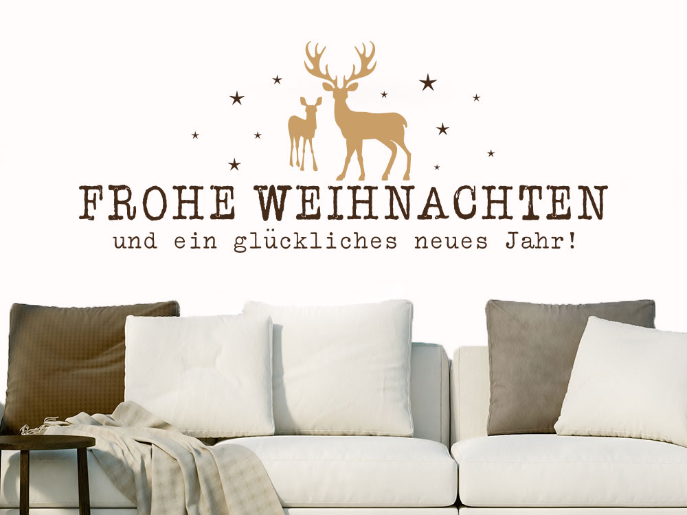 Wandtattoo Frohe Weihnachten mit Hirsch und Reh und Sternen auf heller Wand