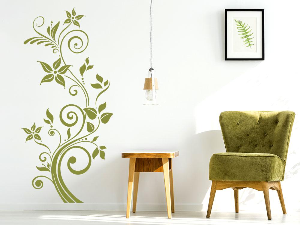 Wandtattoo Verspielte Ranke in der Farbe Oliv