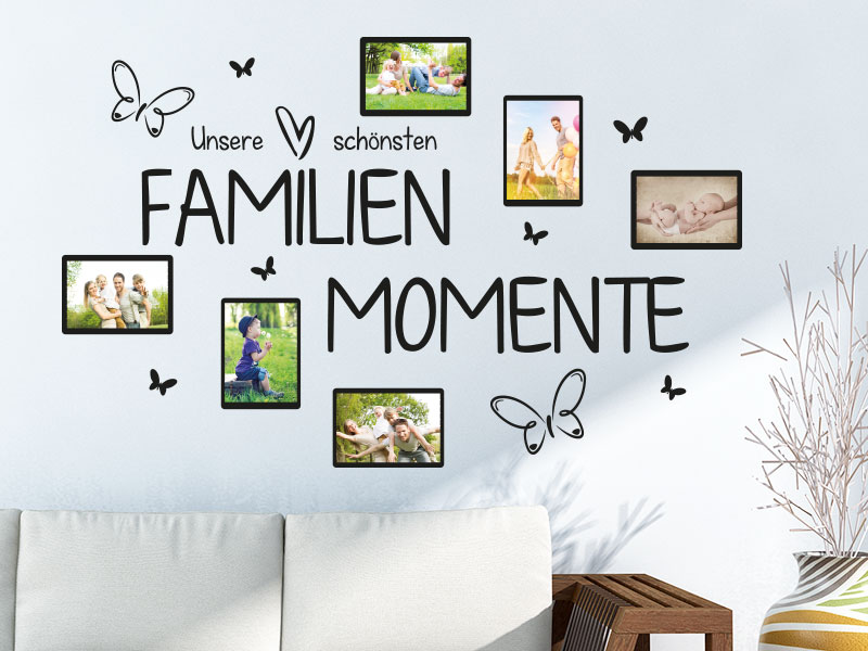 Wandtattoo Unsere schönsten Familienmomente Fotorahmen