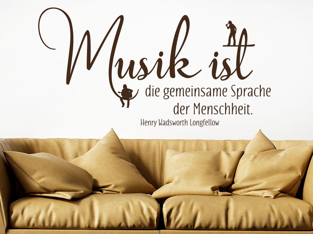 Wandtattoo Musik ist die gemeinsame Sprache der Menschheit im Wohnzimmer