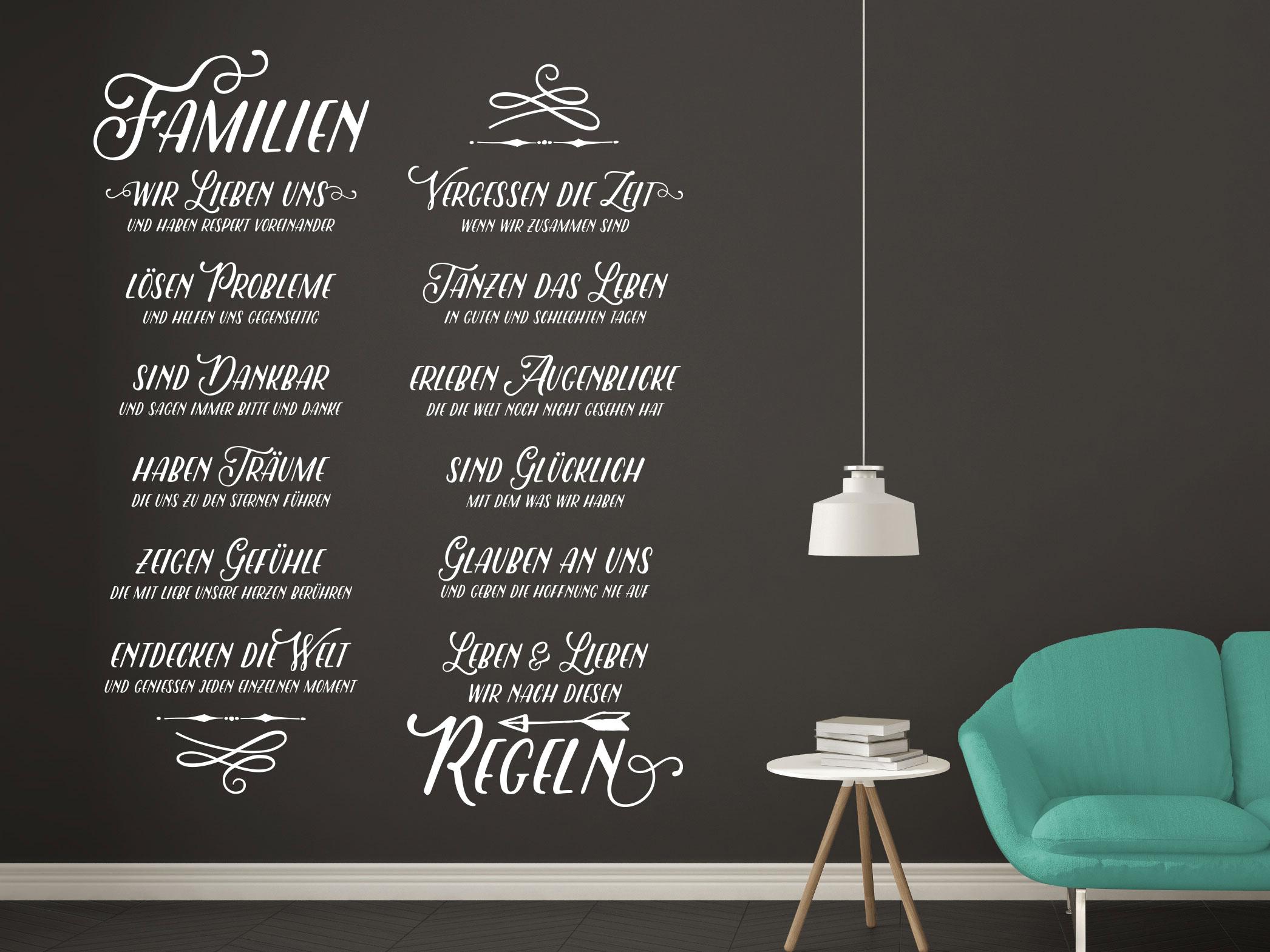 Wandtattoo Wandbanner Familienregeln Spruch auf dunkler Wand