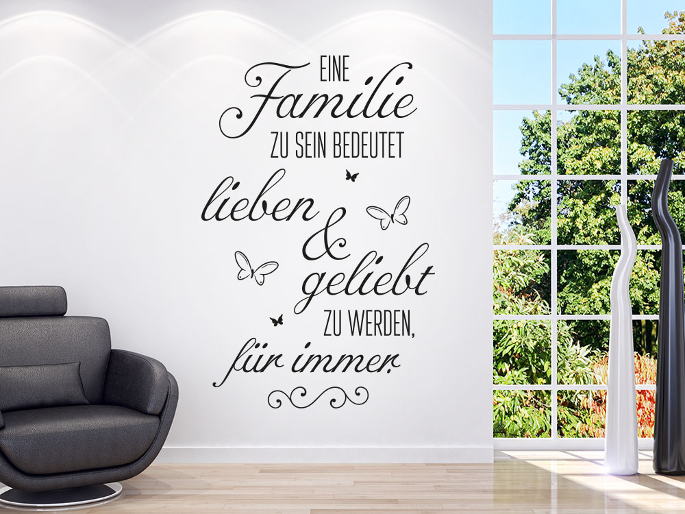 wandtattoo eine familie zu sein bedeutet klebeheld de. Black Bedroom Furniture Sets. Home Design Ideas