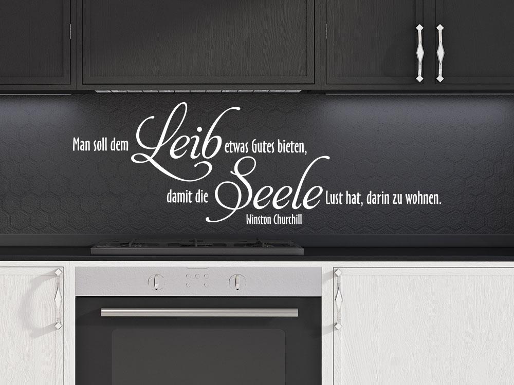 Wandtattoo Man soll dem Leib etwas gutes bieten in Küche über Arbeitsfläche