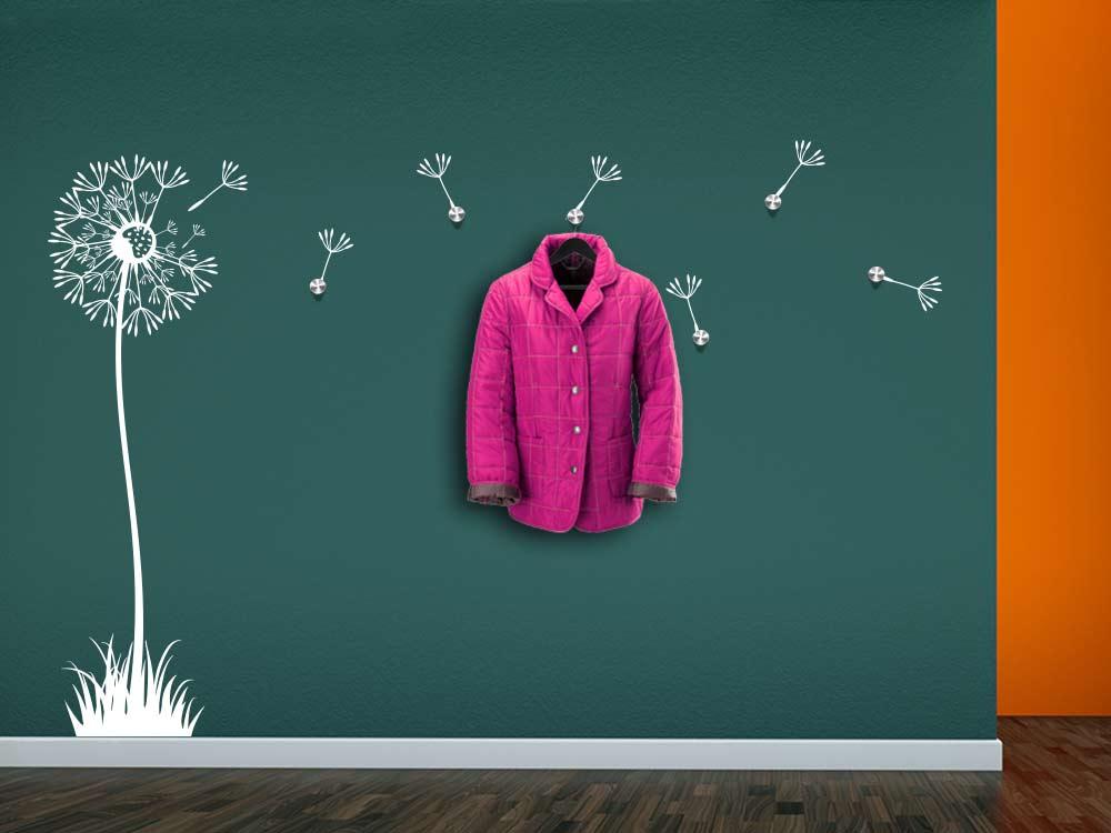 Wandtattoo Garderobe Pusteblume mit Wandhacken