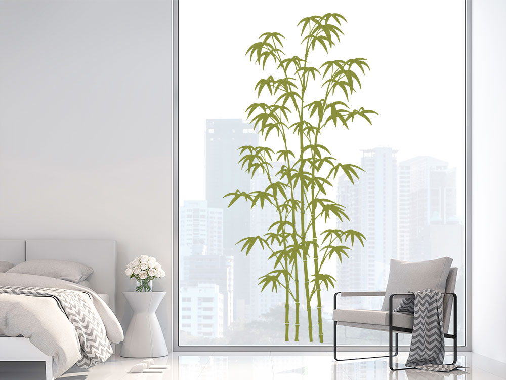 Wandtattoo Bambus auf Glas im Schlafzimmer