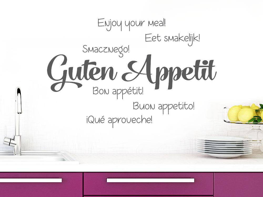 Mehrsprachiges Wandtattoo Guten Appetit in einer Küche