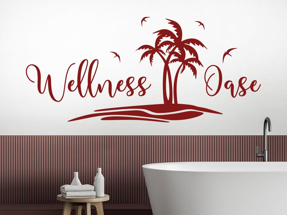 Wandtattoo Wellness Oase mit Palmen über Badewannne