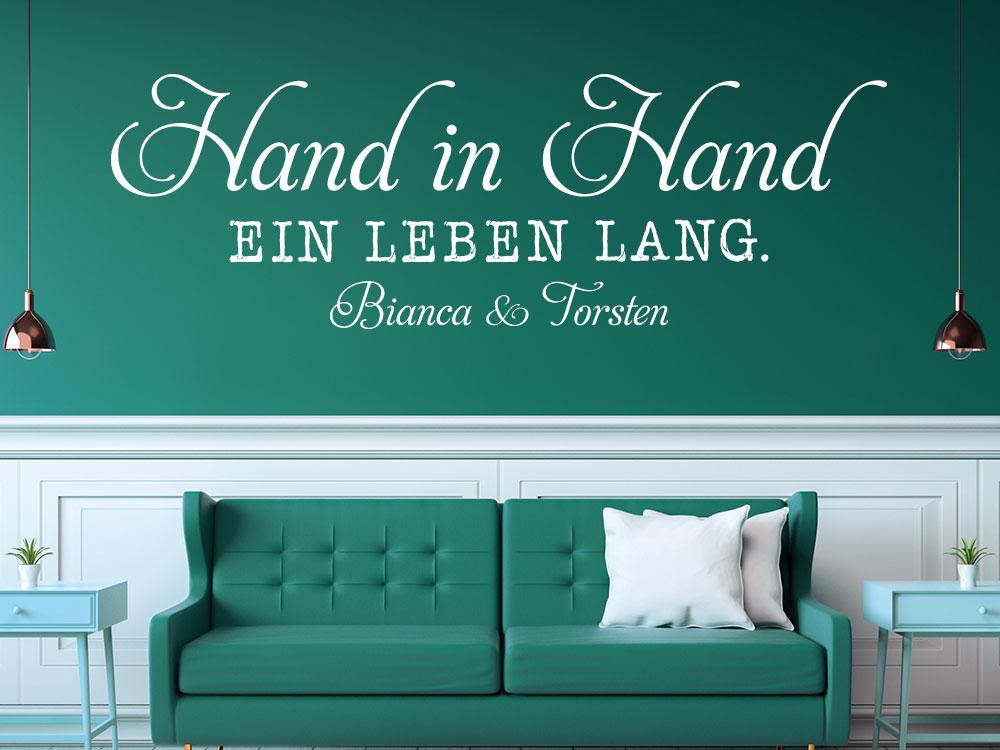Wandtattoo Hand in Hand ein Leben lang in weiss mit Namen