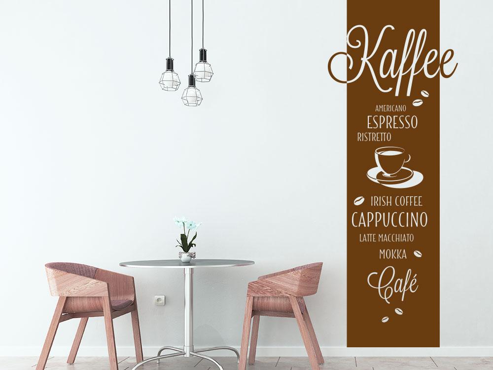 Wandtattoo Kaffeesorten Banner