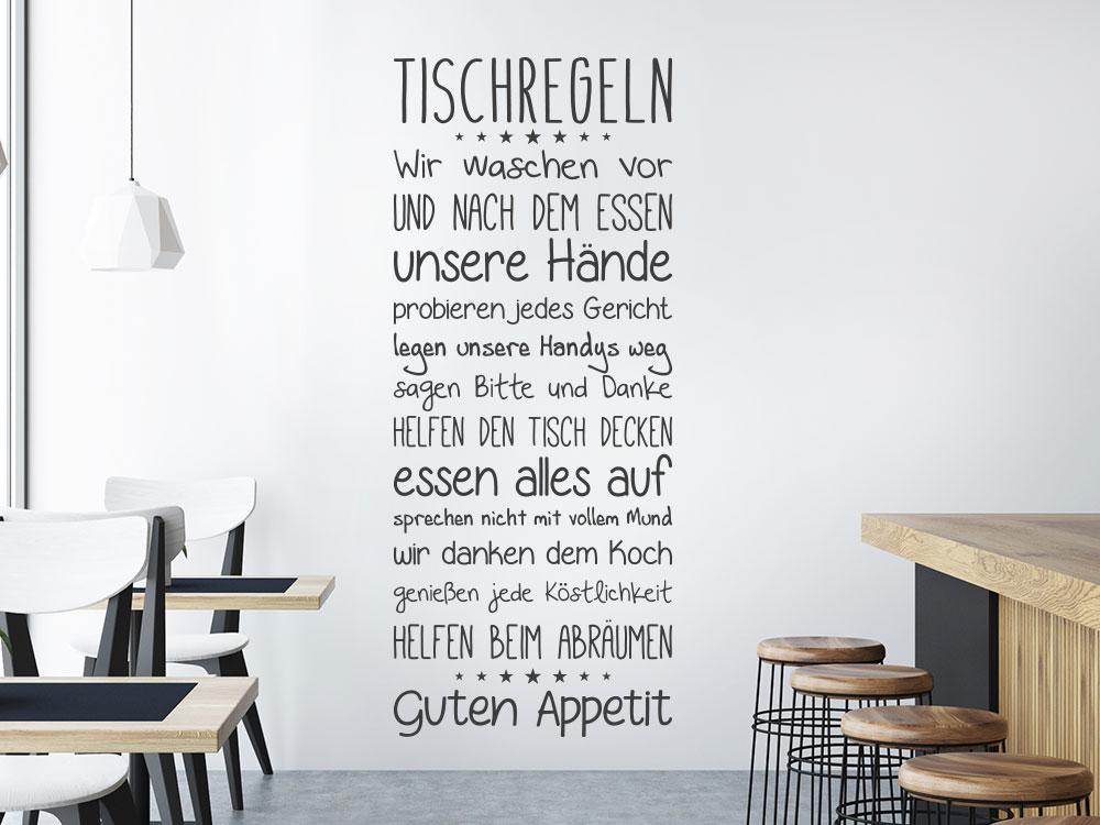 Wandtattoo Banner Tischregeln