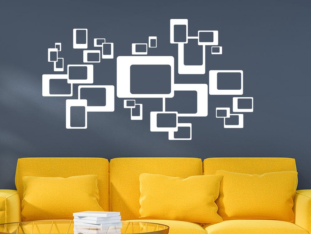 Wohnzimmer Wandtattoo Cubes im Retro Look in der Farbe Weiß