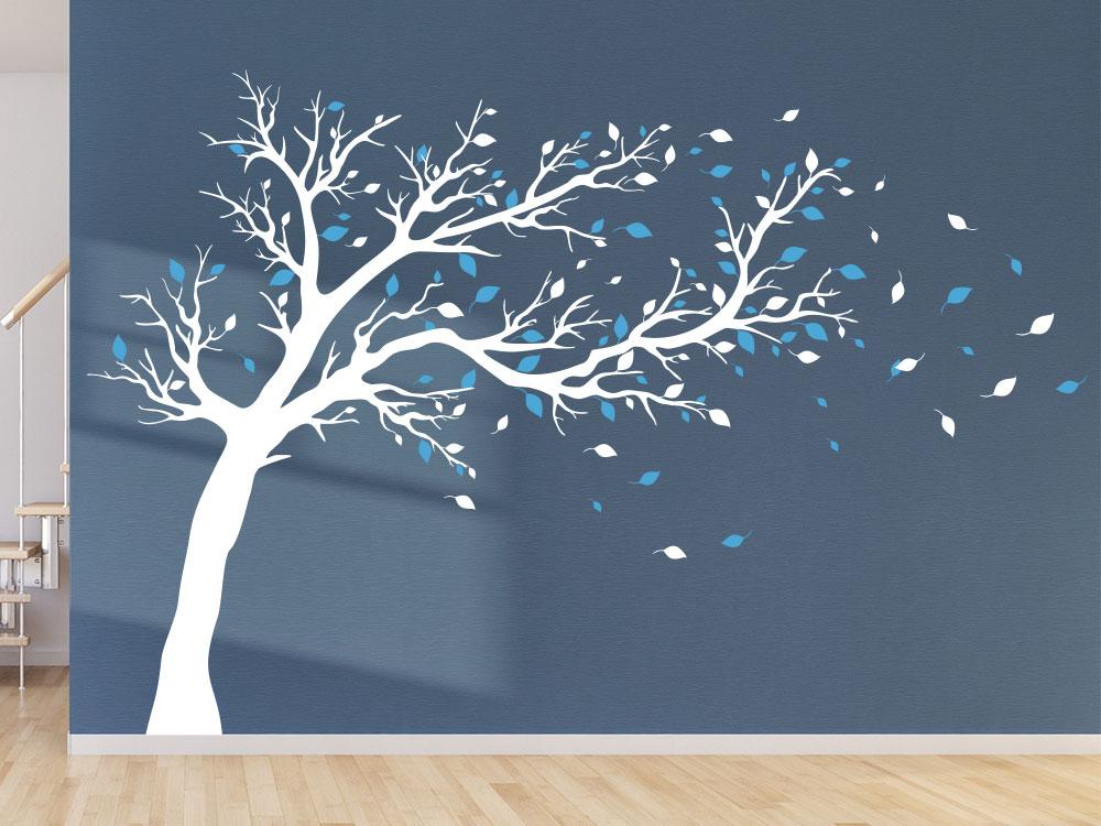 Großer zweifarbiger Wandtattoo Baum Weiß / Blau im Flur