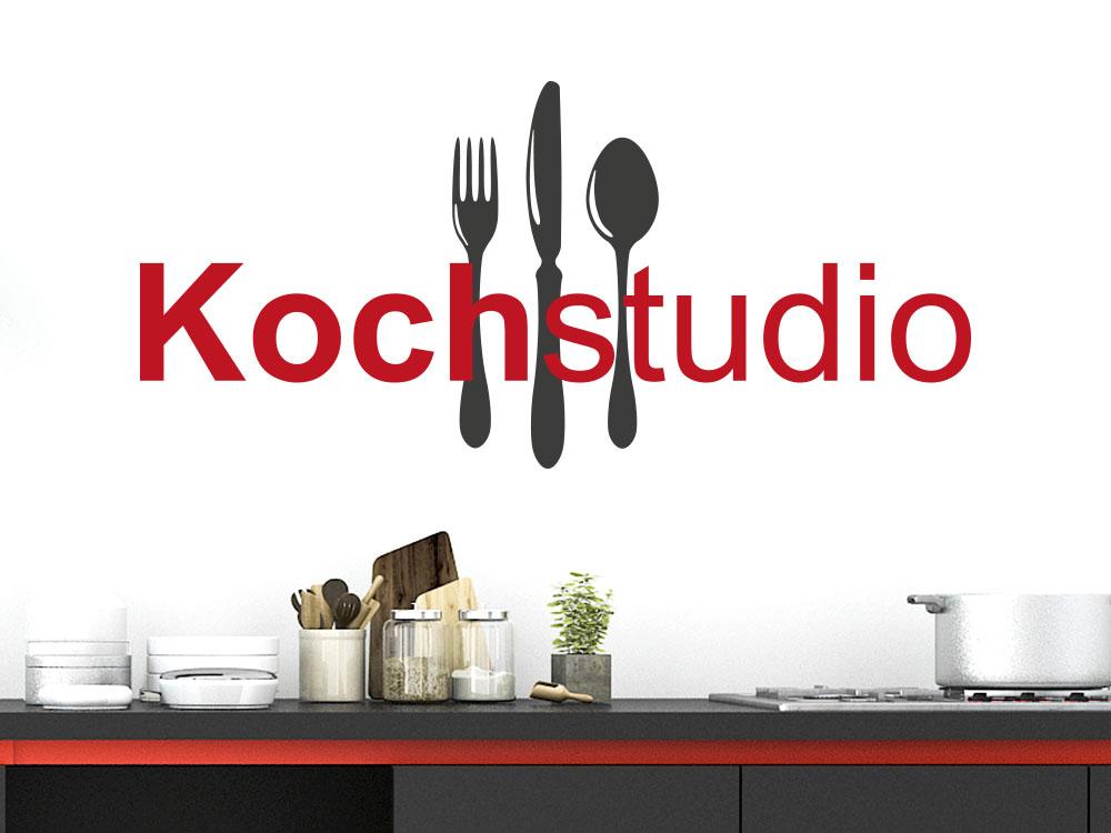 zweifarbiges Wandtattoo Kochstudio in einer Küche