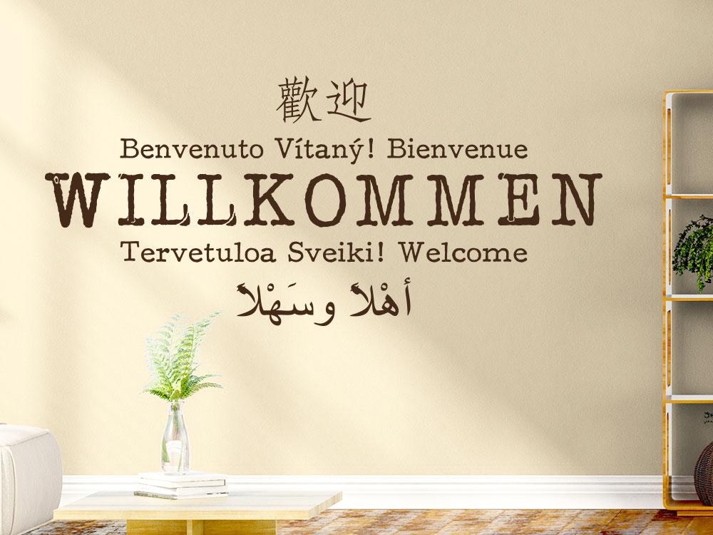 Wandtattoo Willkommen multikulturelle Sprachen im Eingang