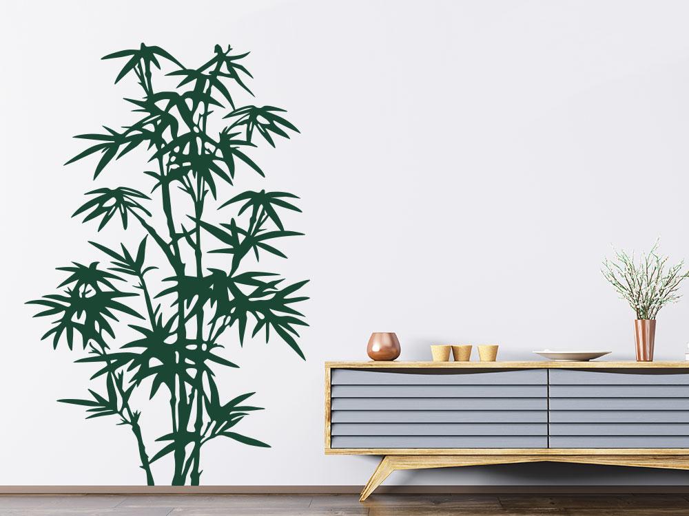 Wandtattoo Asia Bambus in der Farbe Grün auf heller Wand