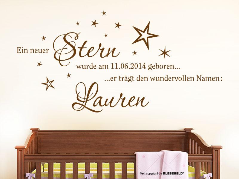 Wandtattoo mit Namen - Ein neuer Stern wurde geboren…