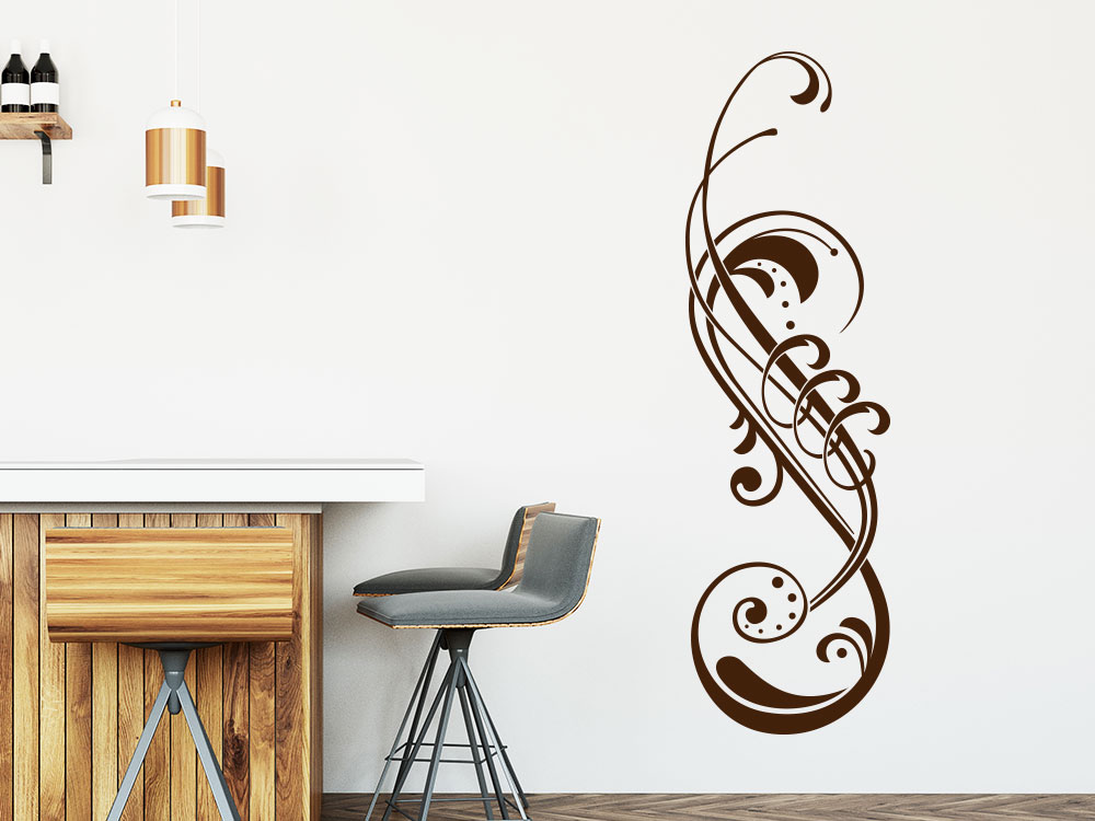 Verspieltes Wandtattoo Ornament mit Schnörkel auf heller Küchenwand